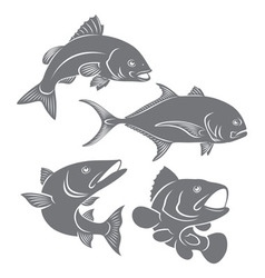 Silhouettes of sea fishes vector