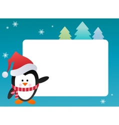Penguin on snowy background vector