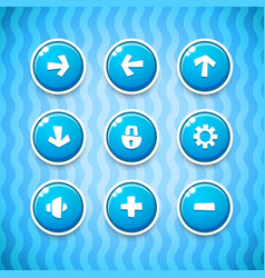 Game buttons with icons set 1 vector