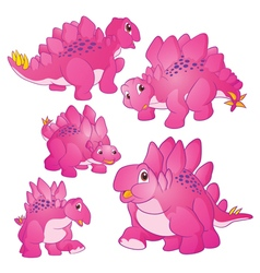 Cute Stegosaurus pink vector image