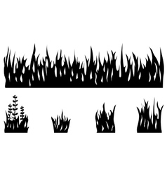 Grass silhouette set vector