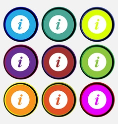 Info icon sign nine multi colored round buttons vector