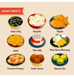 Asian sweets set vector