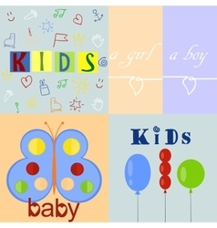 Five different baby logos and backgrounds vector