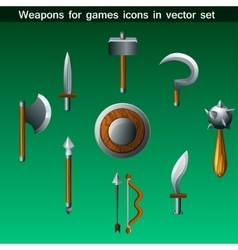 Weapons for games icons set vector