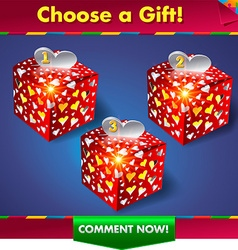 Choose a gift win a prize vector