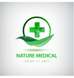 Nature medical logo green leaf and crest vector