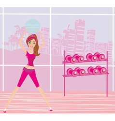 Young smiling woman makes exercise with fitball vector