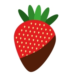 Delicious fruit strawberry with chocolate cream vector