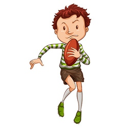 A simple drawing of a young rugby player vector image vector image