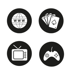 Addictions and bad habits black icons set vector image