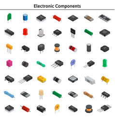 Big set of izometric electronic components vector