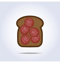 Black toaste with salami icon vector