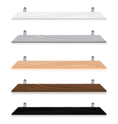 Blank wooden bookshelf set isolated on white vector image vector image