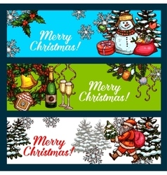 Christmas day new year festive banner set vector