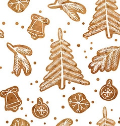 Christmas seamless gingerbread pattern vector