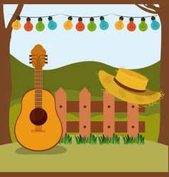 colorful background of festa junina with rural vector image vector image