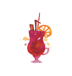 Colorful cocktail alcohol mixed drink or lemonade vector