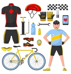 Cyclist with differennt cycle elements vector image vector image