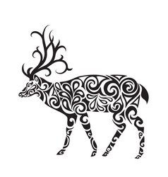 deer in the style of a tattoo vector image