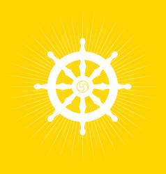 Dharma wheel on light burst vector