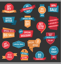 discount icons big sale banners and labels vector image vector image