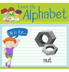 Flashcard letter N is for nut vector image