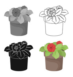 Flower in the pot icon in outline style isolated vector
