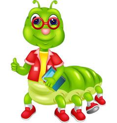 Funny caterpillar cartoon posing with smile vector