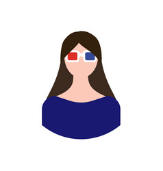Girl in 3d glasses vector