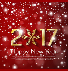 Golden new year 2017 concept on red snow blurry vector