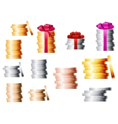 Golden silver and bronze coin stacks vector image vector image