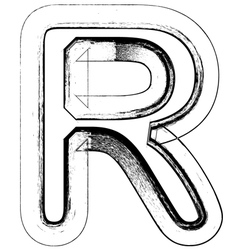 Grunge Font letter R vector image