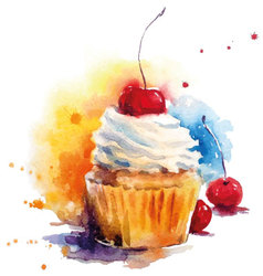 Hand painted watercolor cherry muffin vector