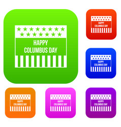 happy columbus day set collection vector image vector image