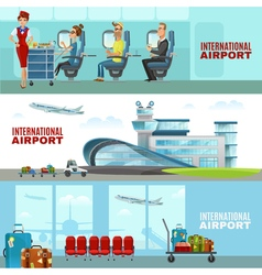 International airport horizontal banners vector