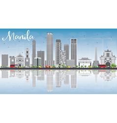 Manila skyline with gray buildings blue sky vector