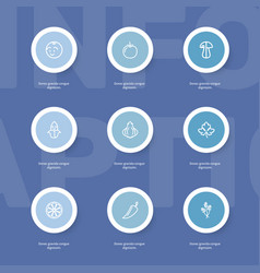 Set of 9 editable kitchenware outline icons vector