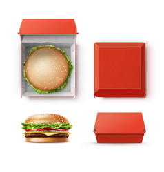 set of container with hamburger vector image vector image