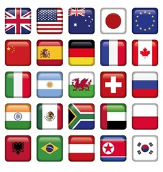 set of Flags world top states vector image vector image