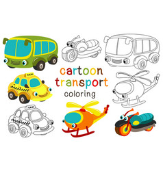 Set of isolated cartoon transport with eyes part 3 vector