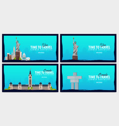 Set of travel banners to usa and canada time to vector