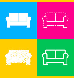 Sofa sign four styles of icon on vector