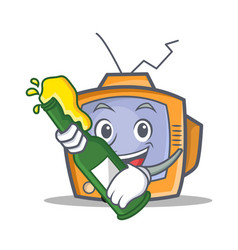 Tv character cartoon object with beer vector