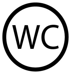 WC toilet icon black white vector image