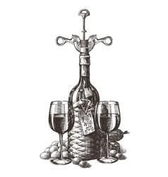 wine logo design template grape or glass vector image vector image