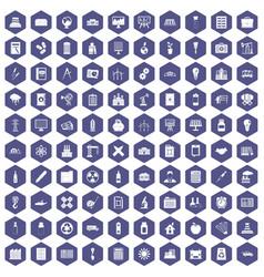 100 company icons hexagon purple vector