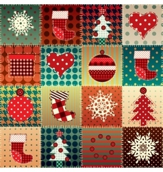 Christmas background in patchwork style vector image