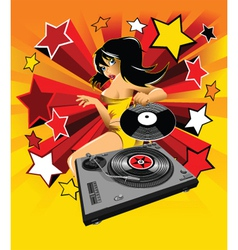 Dj party girl vector