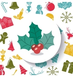 Berry and leaves of merry christmas design vector